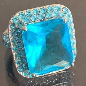 Park Lane Vintage Blue and Silver Cocktail Ring